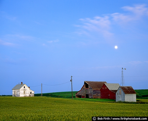 Barns;agriculture;country;farm;farm buildings;rural;midwest farm;summer;red barn;wood barn;windmill;moon;homestead;crops;farm field;farmstead