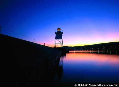 twilight;sunset;silhouette;Sawtooth Mountains;photo;North Shore;night;mood;Minnesota;Lake Superior;Grand Marais;dusk;blue;beacon;lighthouse;light station;MN;Great Lakes;destination;tourism;