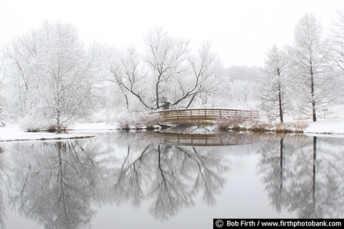 bridge;Chaska;lake;Minnesota Landscape Arboretum;peaceful;pond;refections;snow covered;University of Minnesota;winter trees;winter wonderland;woods;footbridge;walkway;calm;tranquility;Twin Cities;MN